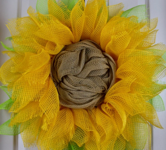 Sunflower Burlap and Mesh Ruffle Wreath; Everyday Flower Wreath; Flower Shaped Wreath Door Decor; Yellow Green Sunflower Home Decor
