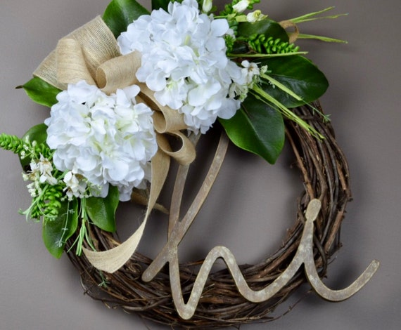Hi Grapevine Wreath with Ivory Hydrangeas and Foliage; Everyday Wreath with Hydrangeas; Spring Door Decor; Summer Wreath; Summer Door Decor