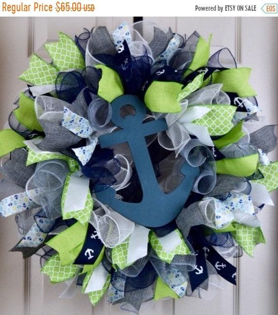 ChristmasInJulySale Lime Green, Navy and Grey Ruffle Mesh Wreath with Anchor; Nautical Shore Beach House Decor Wreath; Summer Door Decor Wre