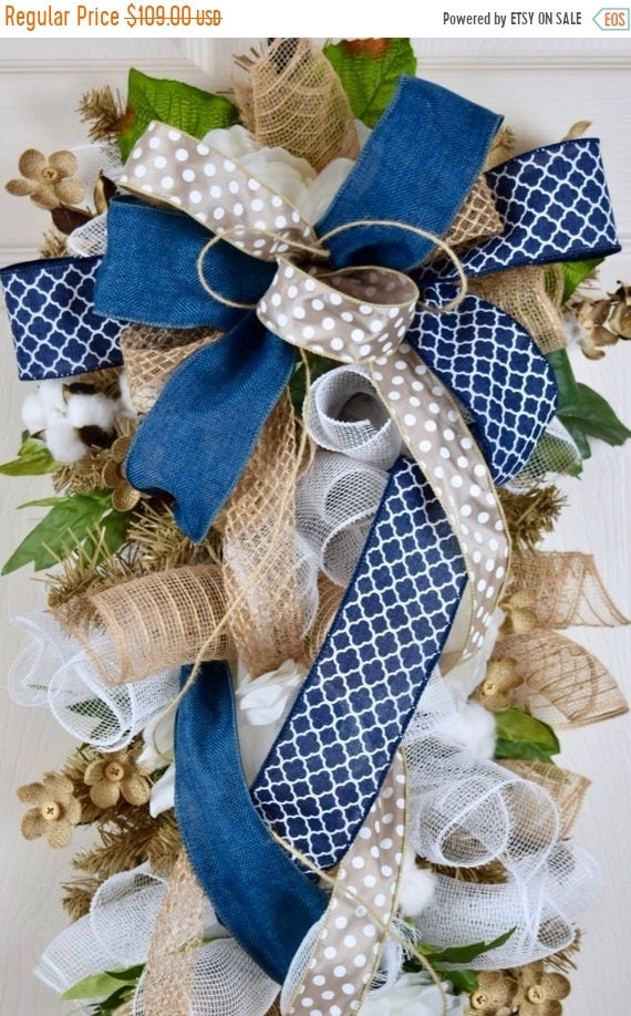 ChristmasInJulySale Navy and Beige Teardrop Swag Wreath with Burlap Flowers and Cotton Pods; Rustic Primitive Country Everyday Wreath Door D