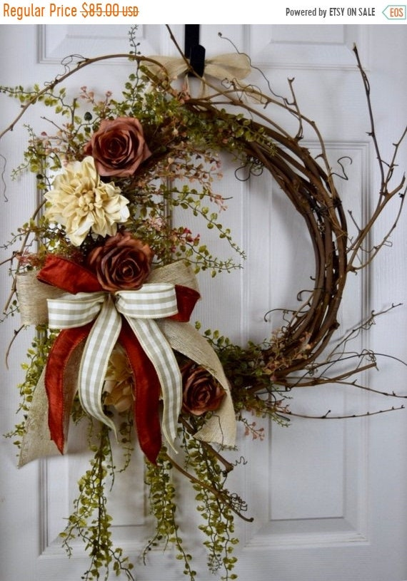 ChristmasInJulySale Rust Beige and Ivory Sunburst Grapevine with Dahlias and Roses; Primitive Country Door Decor Wreath; Rustic Grapevine Wr