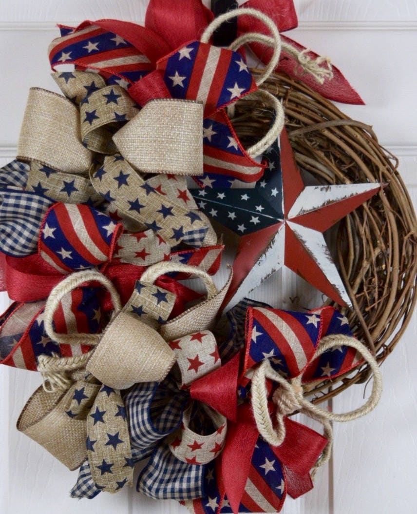 6018fbb17ec Rustic Americana Star Grapevine Wreath  Country Primitive Rustic ...
