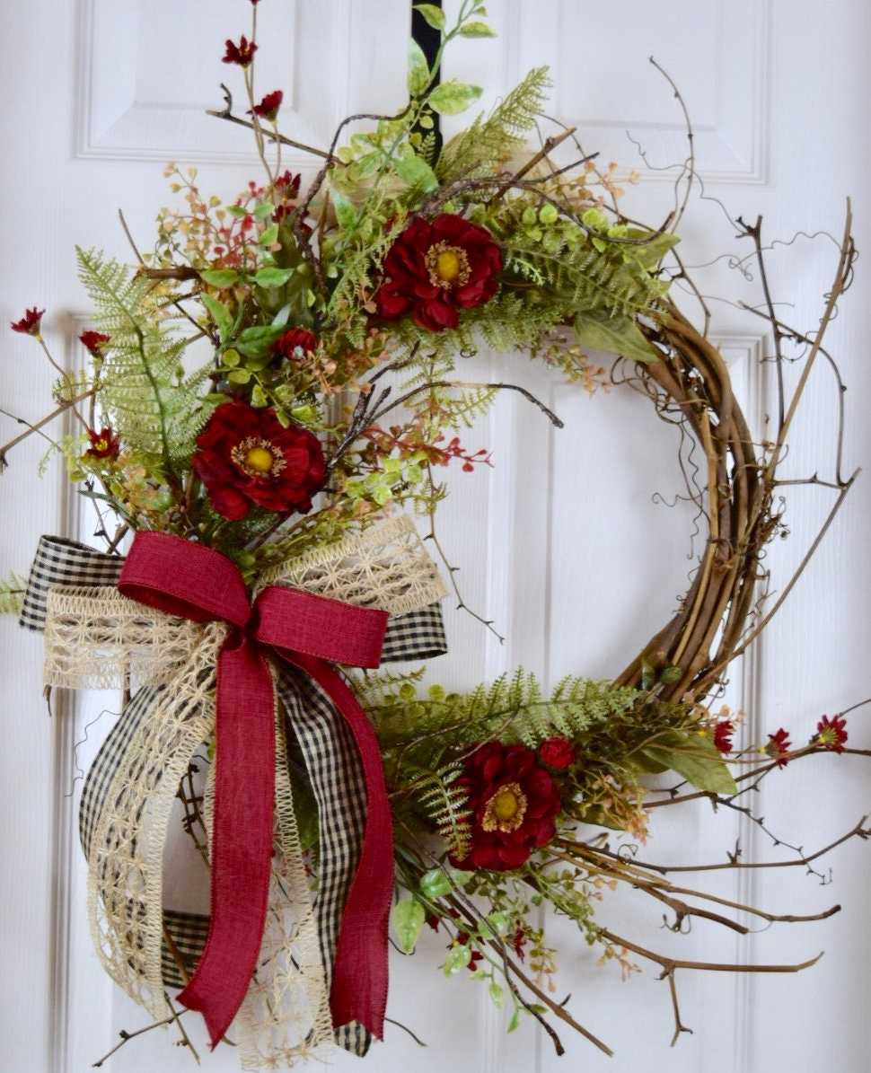 Burgundy Burlap And Black Sunburst Twig Wreath Primitive Country