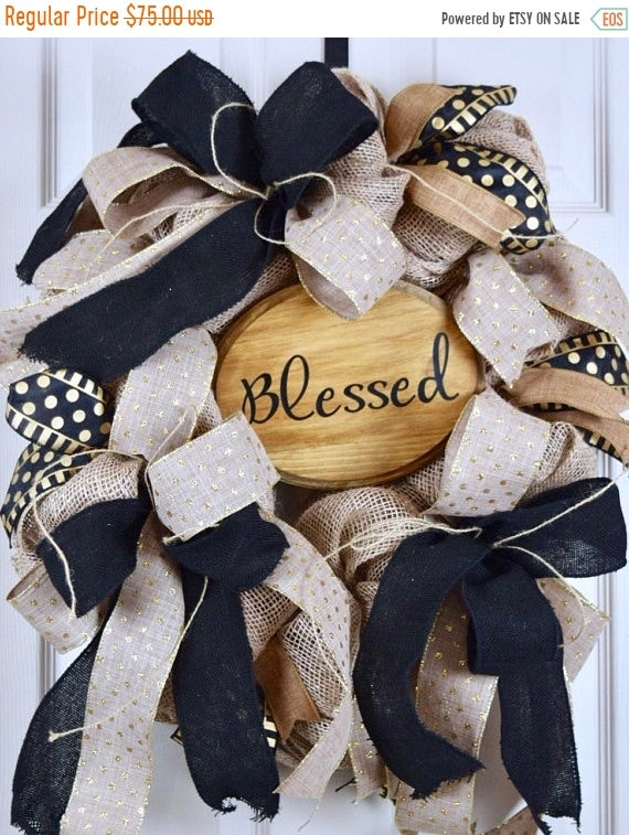 ChristmasInJulySale Blessed Gold and Black Burlap Oval Wreath; Primitive Country Wreath; Classic Everyday Burlap Wreath; Gold Black Beige Do