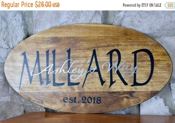 ChristmasInJulySale Surname Street Year Wood Plaque with Chain; Welcome Door Decor; Wood Welcome Decor; Last Name Sign Decor; Customized Hou