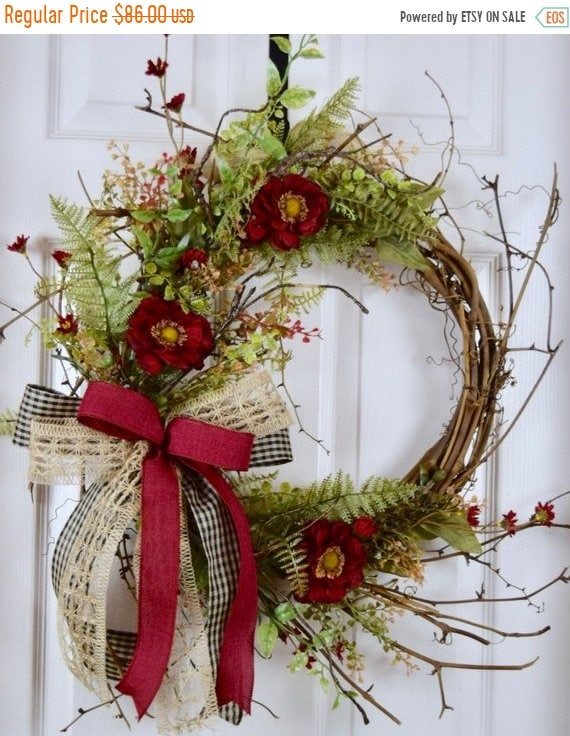 ChristmasInJulySale Burgundy, Burlap and Black Sunburst Twig Wreath; Primitive Country Door Decor Wreath; Rustic Grapevine Wreath with Folia