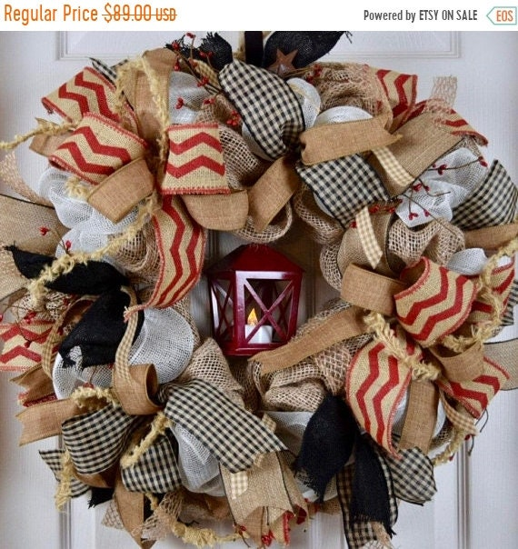 ChristmasInJulySale Lantern Red Black and Burlap Wreath with Pip Berries and Rusty Tin Stars; Red and Black Primitive Country Door Decor; Ru