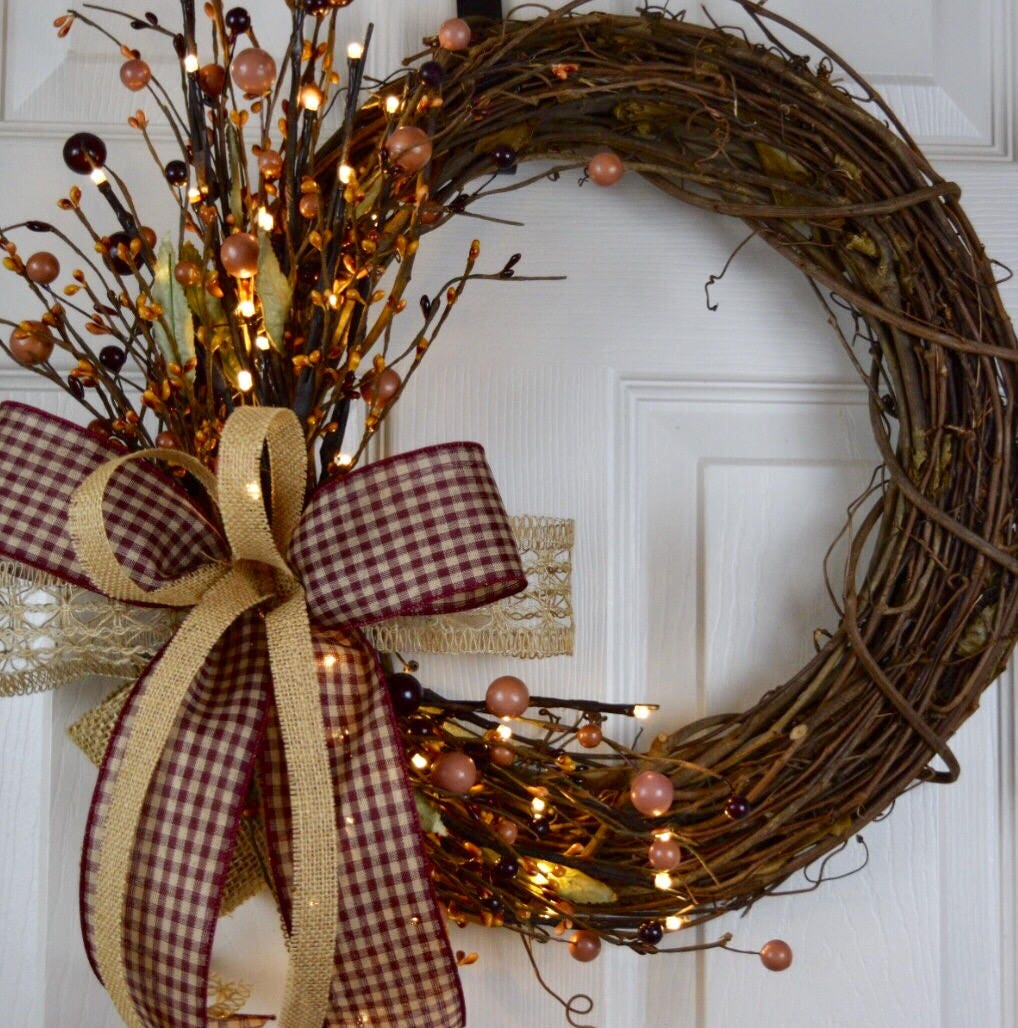 Salzburg Creations Burgundy And Rose Gold Fireworks: Pre-Lit Burgundy & Mustard Primitive Grapevine Wreath And