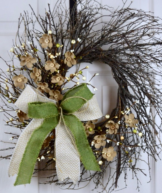 Green Beige Cream Sunburst Grapevine with Burlap Flowers; Country Door Decor; Primitive Wreath Rustic Vine Flowers Buttons Door Decor Wreath