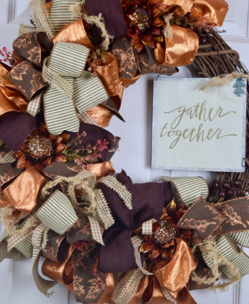 Gather Together Fall Grapevine Wreath with Sunflowers and image 0