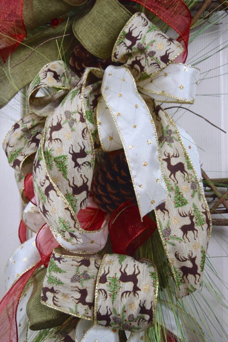 Rectangular Vine Christmas Wreath with Pine Branches and Pine Cones; Red Green Gold Winter Holiday Wreath; Christmas Grapevine Door Decor