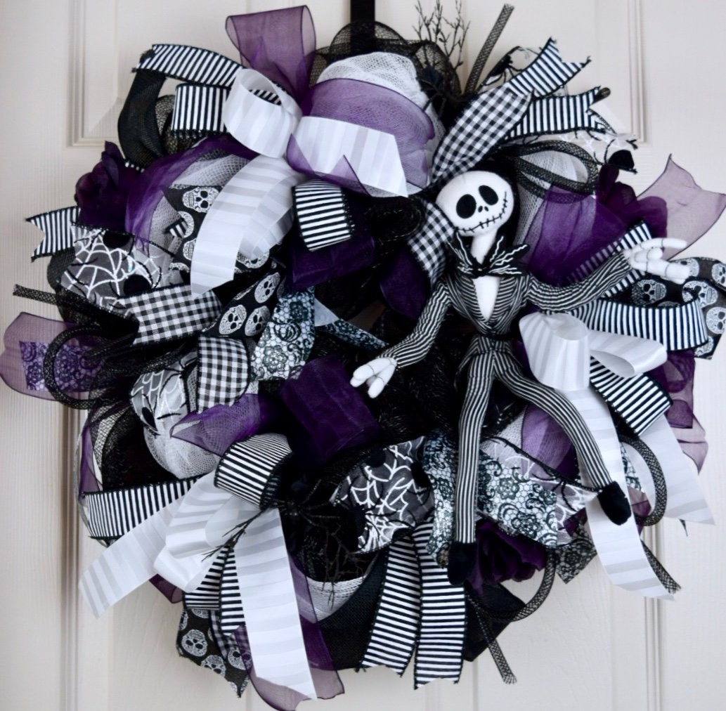 89021741dd9 Jack Skellington Black White and Purple Mesh Wreath with Roses and ...