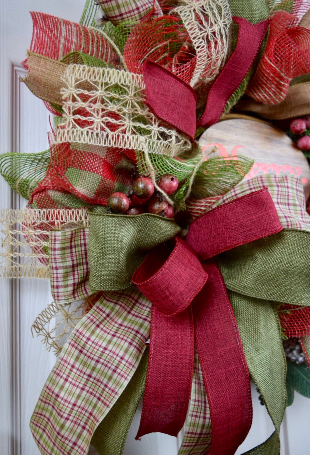5 Christmas Discounts High Quality Modern Wooden Door: Merry Burlap Mesh Green Red Burgundy Wreath With Berries