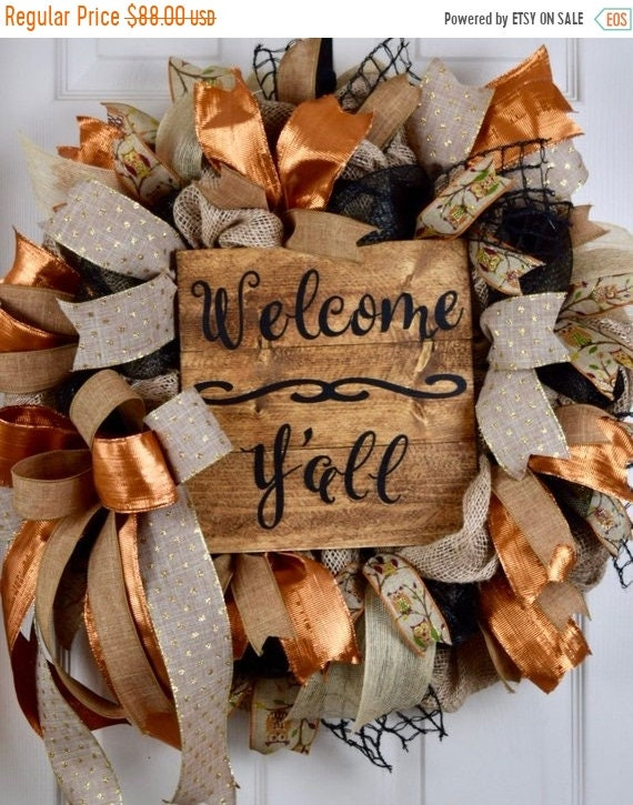 ChristmasInJulySale Welcome Y'all Black Burlap Owl and Metallic Rust Wreath; Primitive Country Wreath; Classic Rustic Wreath; Welcome Sign E