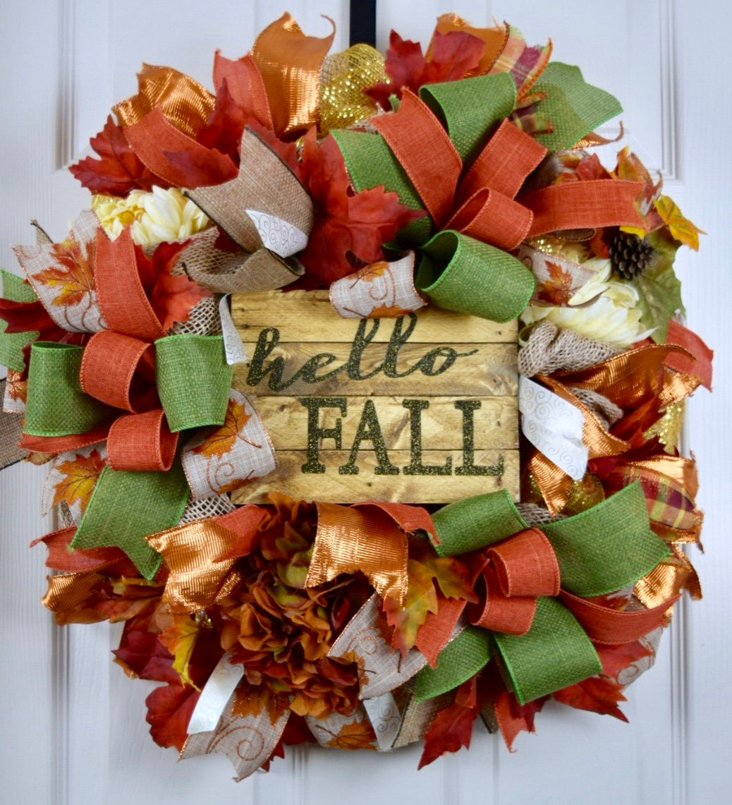Salzburg Creations Burgundy And Rose Gold Fireworks: Hello Fall Rust Green Gold Orange Mesh And Burlap Wreath