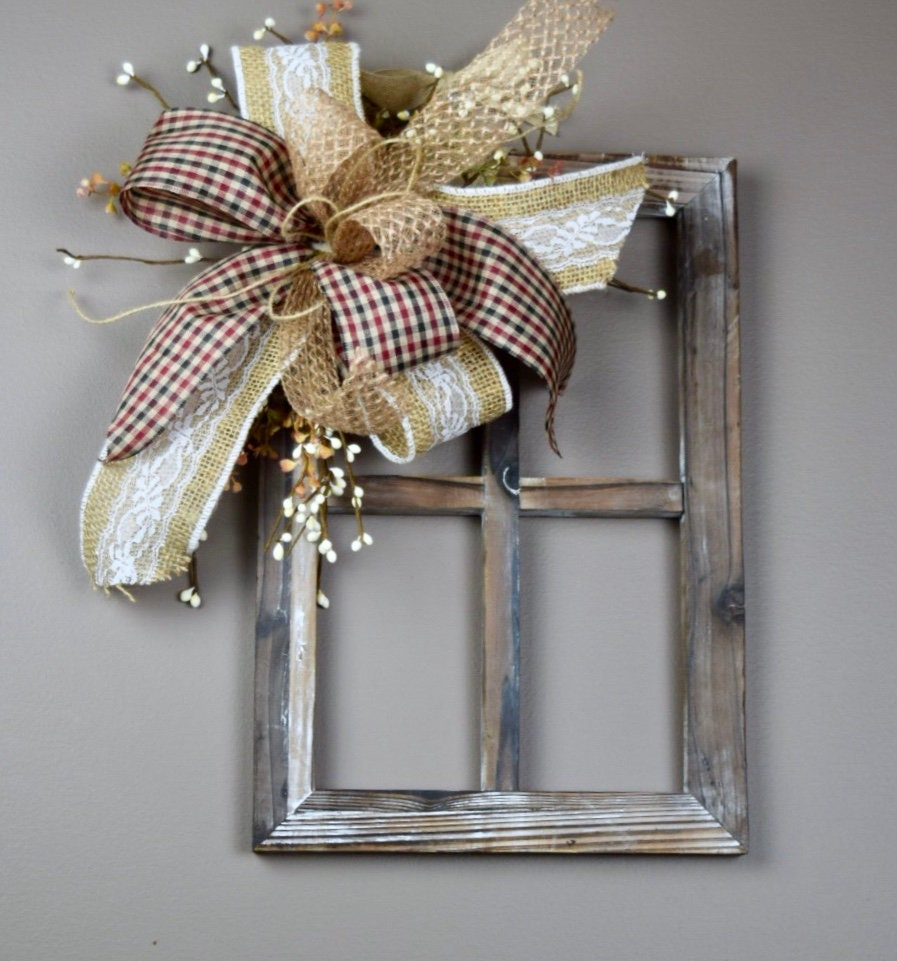 Barnwood Window Frame With Bow And Berries; Everyday Wall Decor; Rustic Door  Decor; Country Door Wall Decor; Everyday Door Decor; Primitive