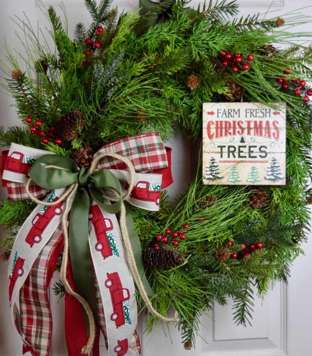 Country Pines Christmas Tree Farms: Farm Fresh Christmas Tree Cypress Pine Wreath With Frosted