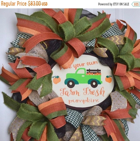 ChristmasInJulySale Pick Your Own Farm Fresh Pumpkins Mesh and Burlap Wreath with Rustic Pumpkins; Autumn Fall Wreath Door Decor; Thanksgivi