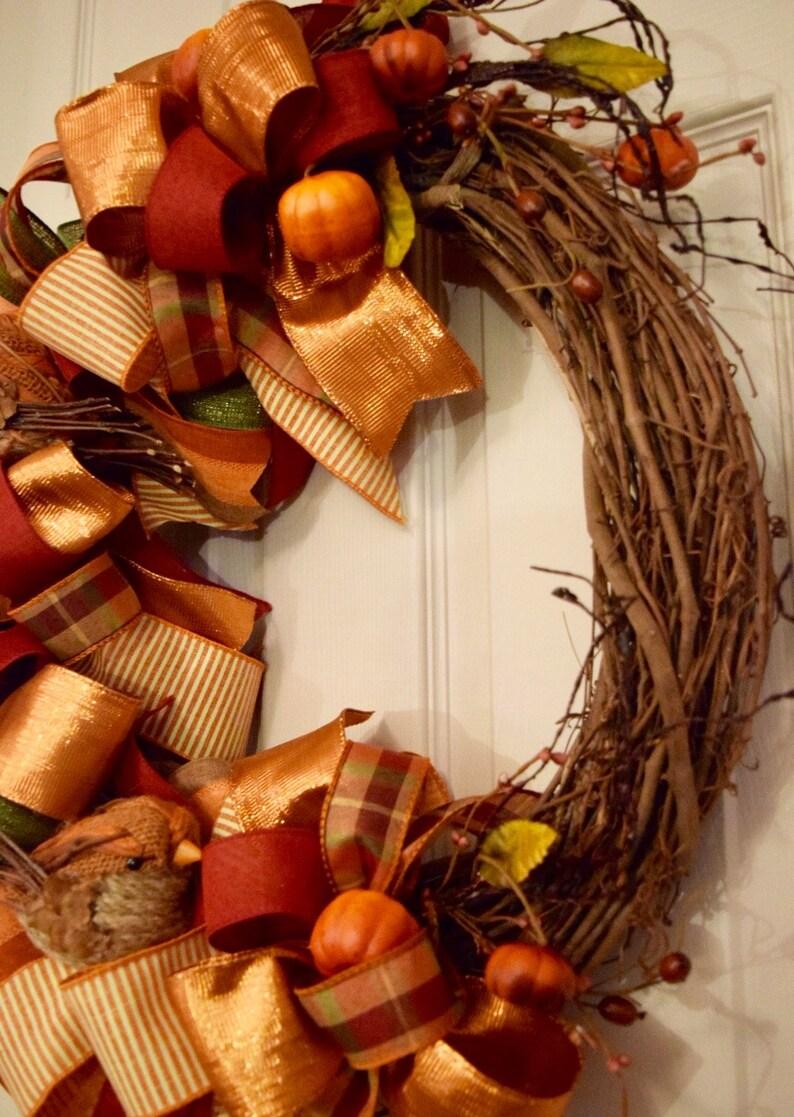 Fall Grapevine Wreath With Bows Burlap Birds Mini Pumpkins Etsy