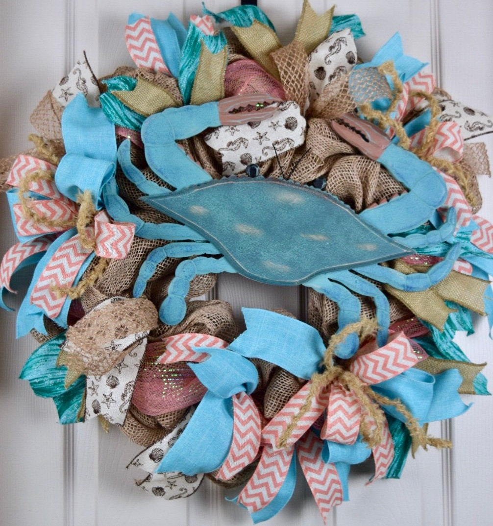 Blue Crab Beach Burlap And Mesh Wreath Nautical Beach