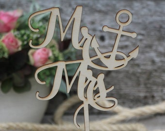 Mr&Mrs Anchor wood wedding cake topper/wood wedding cake topper/Anchor wedding cake topper/Nautical cake topper/Special event cake topper