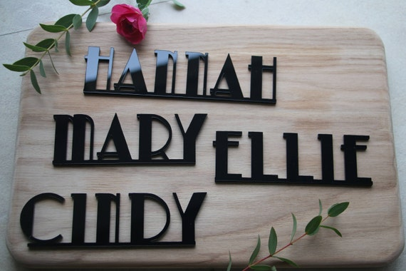 Custom Laser Cut Name Signs Art Deco Style Signs Dinner Party Etsy