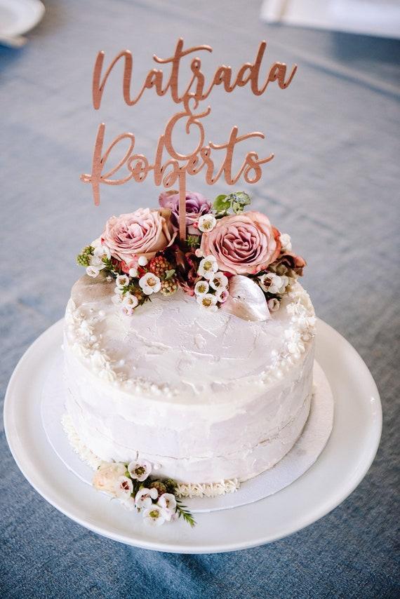 Laser Cut Rose Gold Hochzeitstorte Topper Custom Etsy