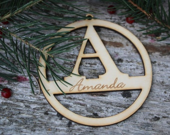 Laser Cut Initial/Christmas Tree Wood Gift tag/Christmas Ornament/ Custom Xmas Decor/ Personalized Gift tag/ Rustic Christmas Decor