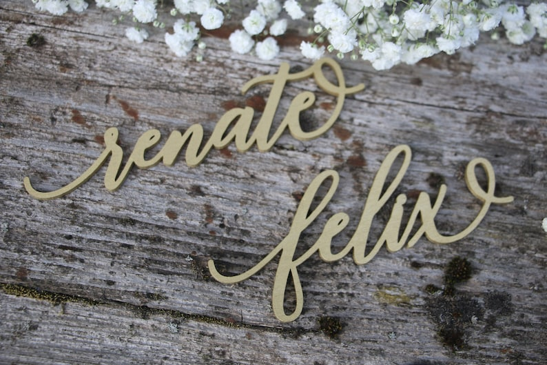 195Laser cut wood names Custom Laser  cut Name Signs Wedding place cards Laser cut wood signs Place setting signs