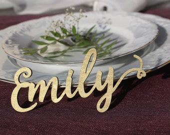 Laser Cut Wood Wedding Name Signs/Gold Painted Custom Laser Cut Wedding  Setting Signs/
