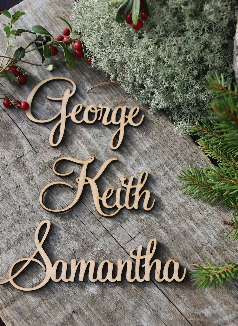 Laser cut custom Christmas place nameCustom woden Xmas signsWooden place cards Christams table decorLaser cut namesTAGS for Xmas