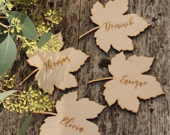 Laser Cut  leaf place cards Autumn wedding place cards Maple leaves Place cards Thanksgiving place cards  wooden maple leaf place cards