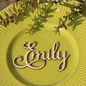 Laser cut wood names Custom Laser  cut Name Signs Wedding place cards Laser cut wood signs Place setting signs