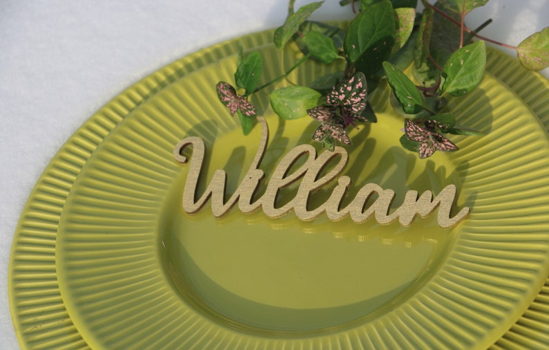 24 Laser cut wood names Custom Laser  cut Name Signs Wedding place cards Laser cut wood signs Place setting signs
