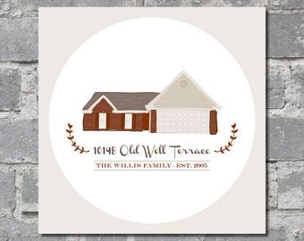 """Custom House Illustration (11"""" x 11"""") DIGITAL FILE"""