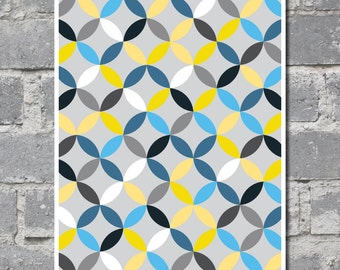 Overlapping Circles Art in Yellow, Blue and Gray (8x10) DIGITAL FILE