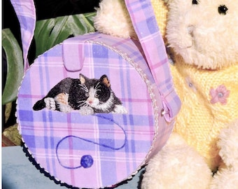 Round Pink & Purple Plaid Cat Purse For Girls