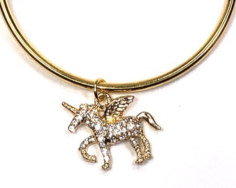 Girl's Gold Bangle Unicorn Charm Bracelet