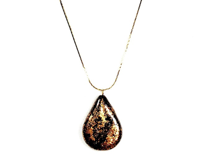 Black and Copper Glittered Teardrop Necklace