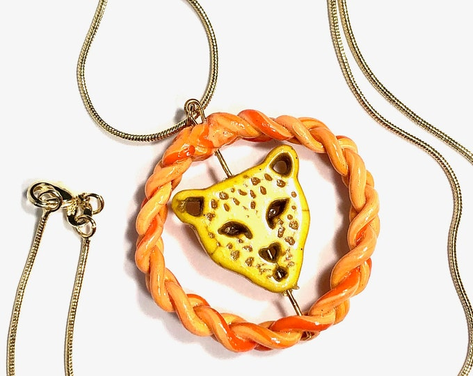 Orange Braided Clay with Yellow Cheetah Spinner