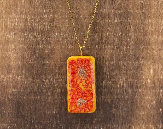 Yellow Domino Necklace with Red Floral Design