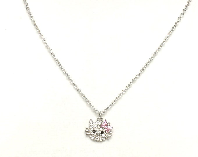Crystal Hello Kitty Pendant Necklace