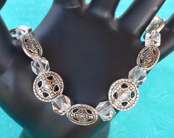 Silver & Clear Beaded Bracelet, Celtic Design