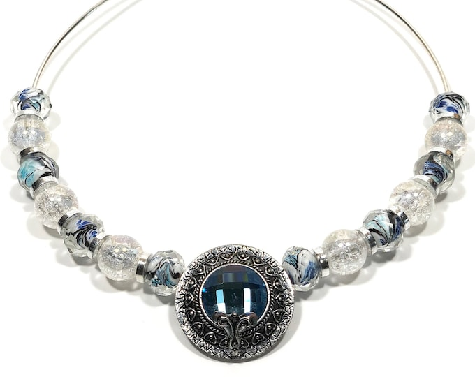 Blue Crystal Collar/Choker with Rich Blue and Silver Pendant