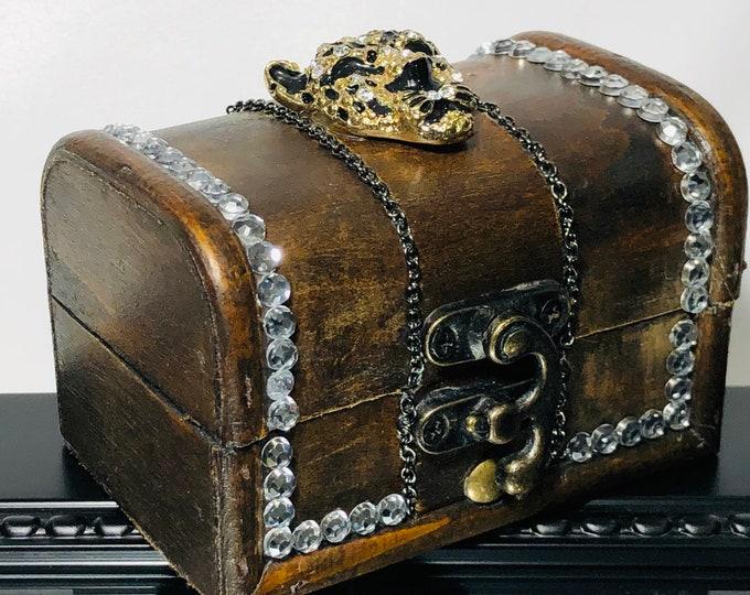 Cheetah Brown Wooden Jewelry Treasure Box