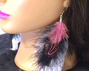 Feather earrings, Cheetah Print with Black and Rose