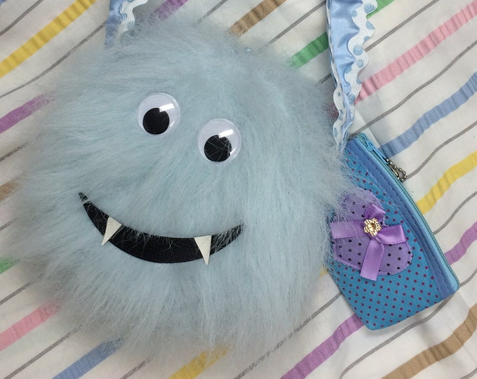 """Furry Blue Monster Purse For Girls, """"Cookie Monster"""", Unique Gift"""