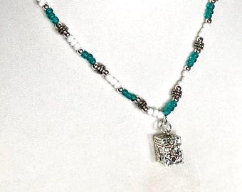 Treasure Box Locket Necklace, Teal & White Beaded