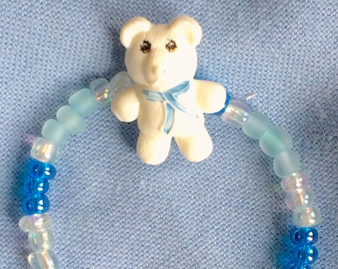 Baby Bracelet Blue Beads with Teddy Bear 0-6 months