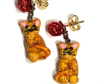 Cat Kitten Pierced Earrings
